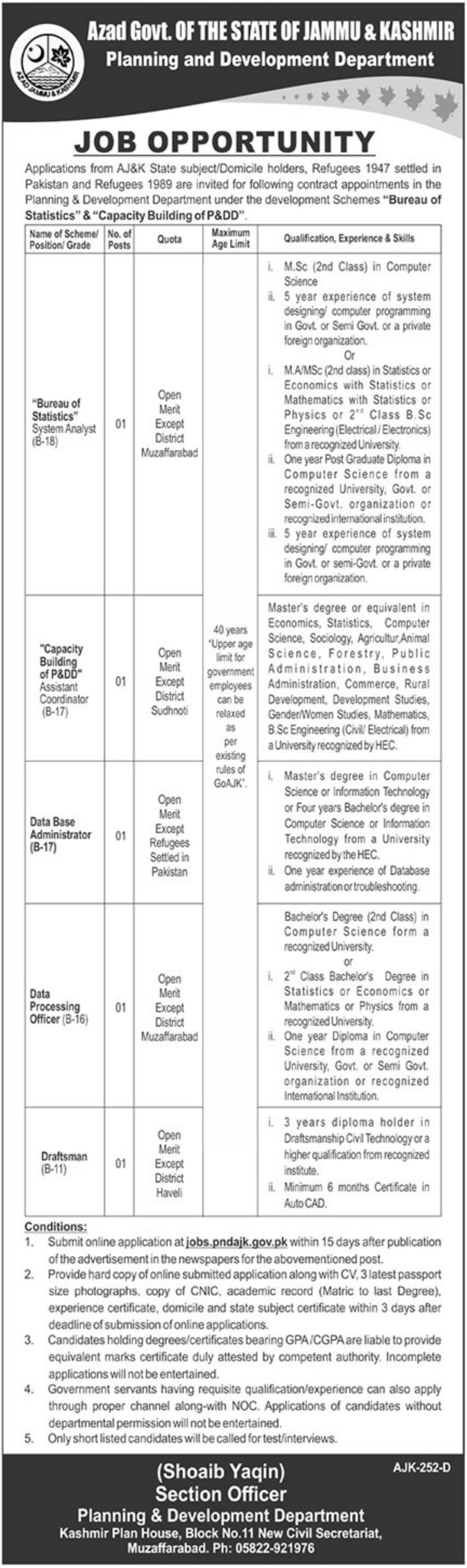 Planning & Development Department AJK Jobs 2019 Latest P&DD Muzaffarabad
