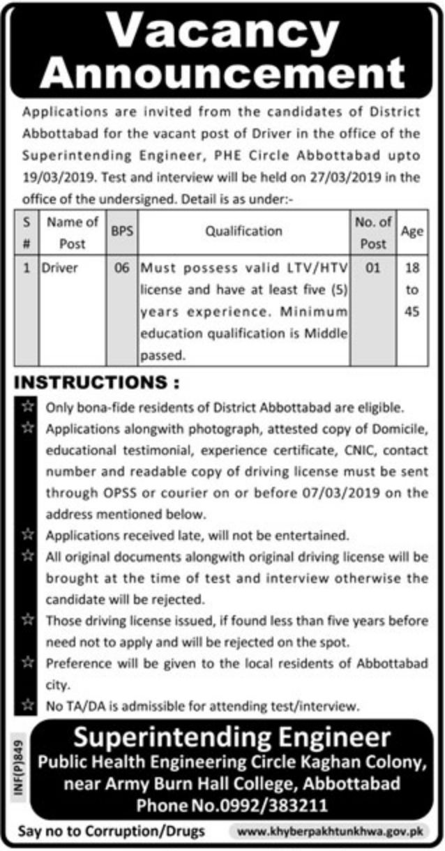 Public Health Engineering Circle Abbottabad Jobs 2019 KPK