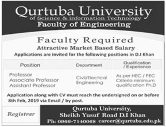 Qurtaba University of Science & Information Technology D.I. Khan Jobs 2019 Latest
