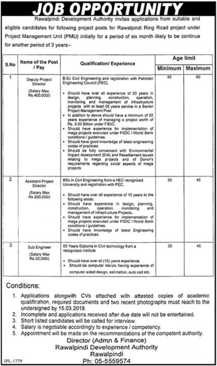 Rawalpindi Development Authority Jobs 2019 Latest