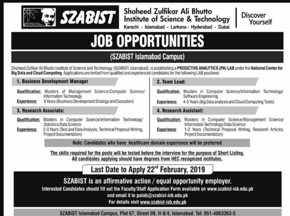 SZABIST Jobs 2019 Shaheed Zulfikar Ali Bhutto Institute of Science & Technology Latest