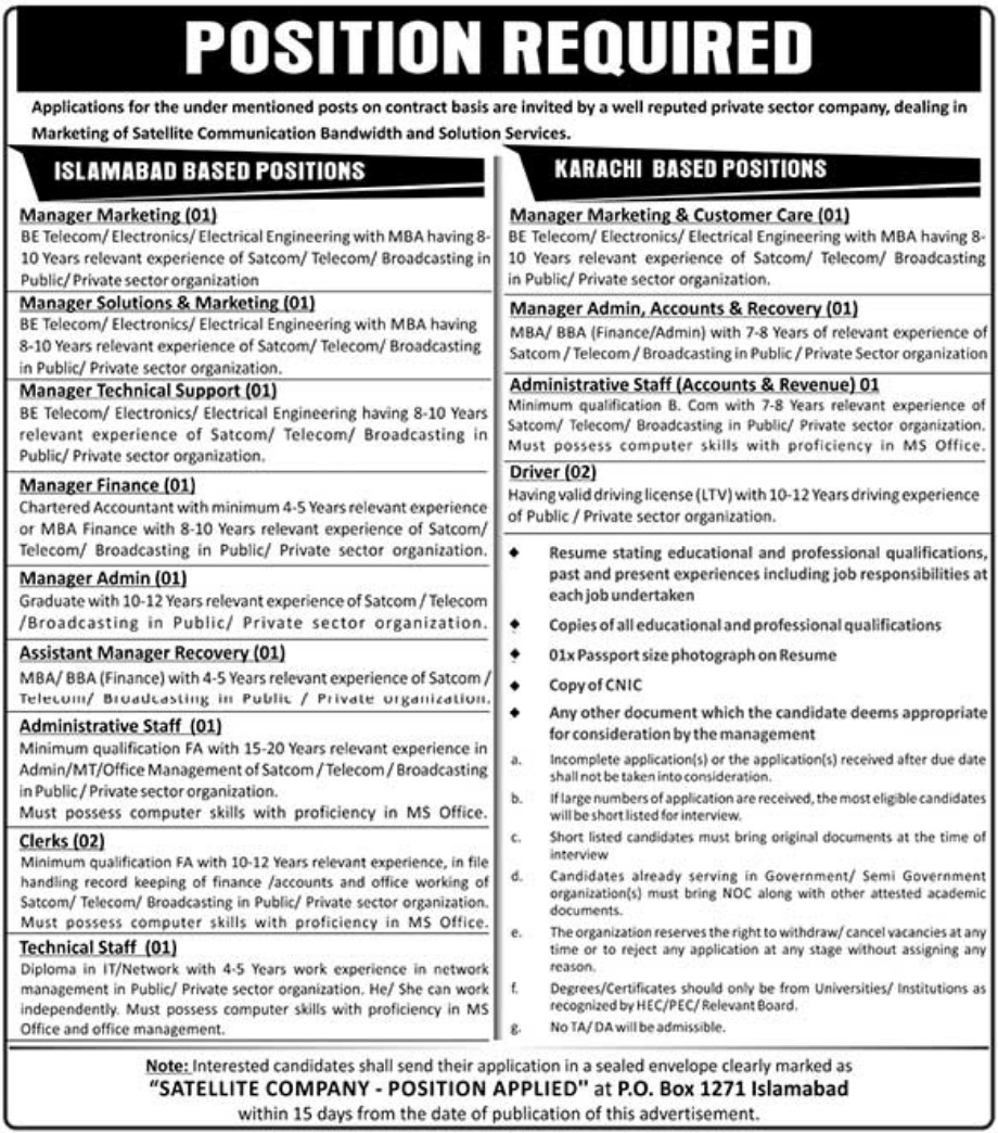 Satellite Company Jobs 2019 P.O.Box 1271 Islamabad Latest