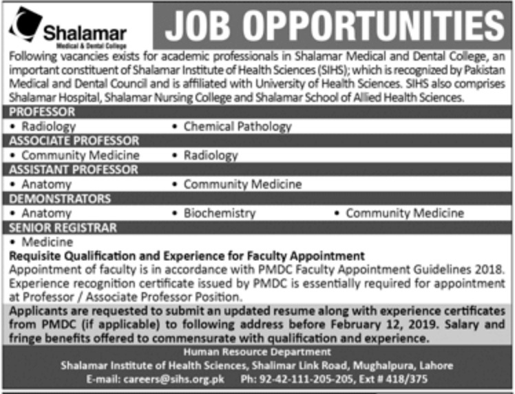 Shalamar Medical & Dental College Lahore Jobs 2019
