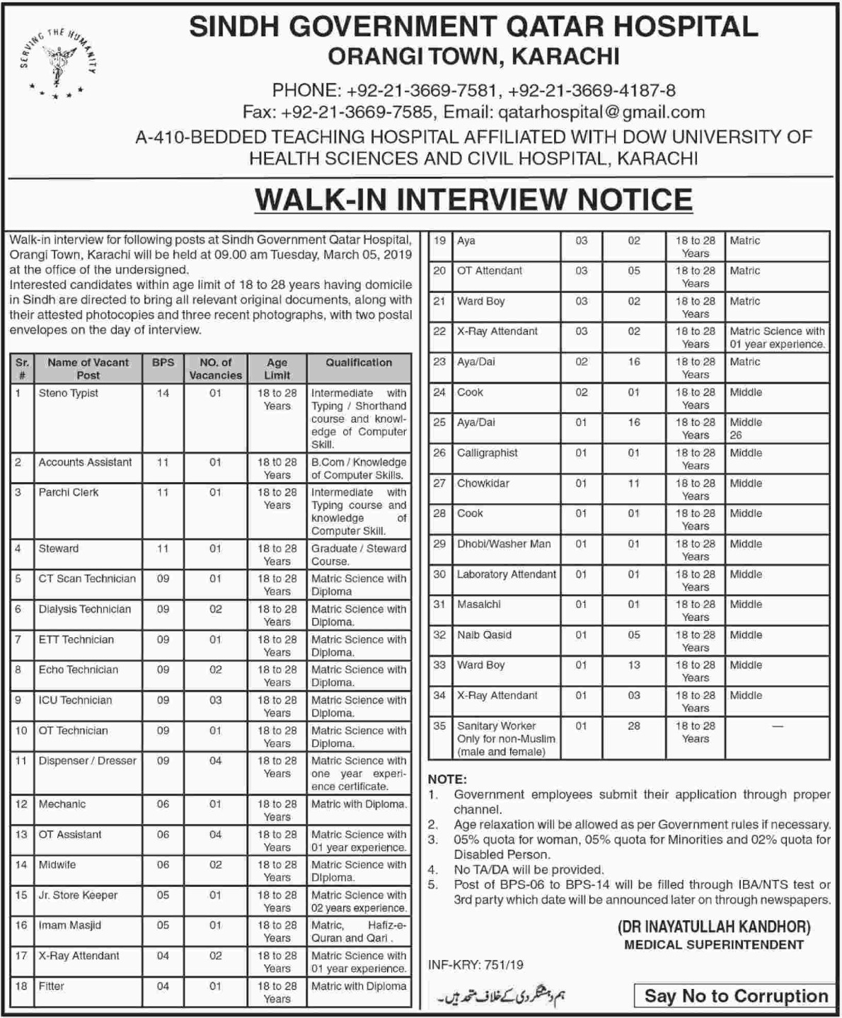 Sindh Government Qatar Hospital Karachi Jobs 2019 Latest