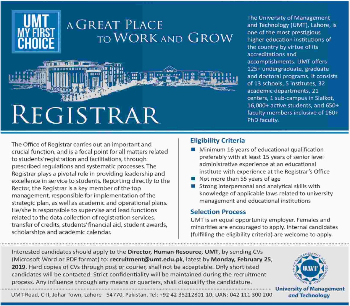 UMT Jobs 2019 University of Management & Technology Latest