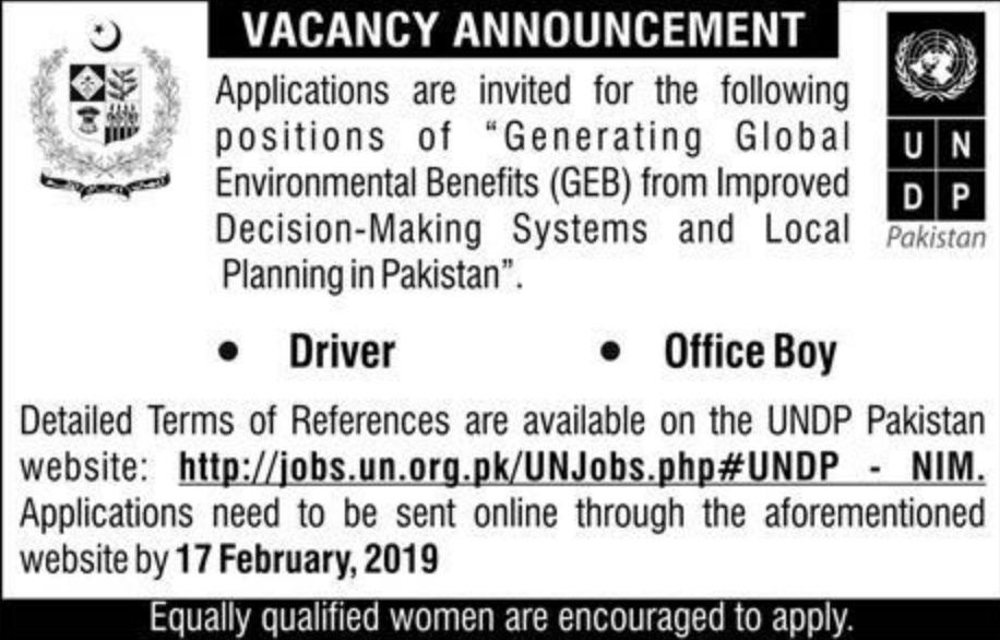 UNDP Pakistan Jobs 2019 Driver & Office Boy