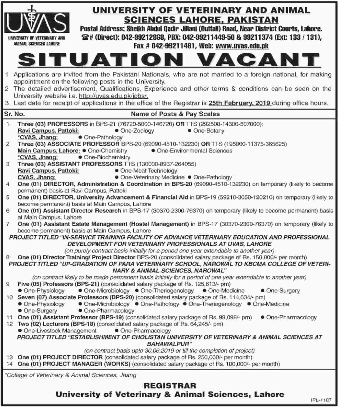 UVAS Lahore Jobs 2019 University of Veterinary & Animal Sciences Latest