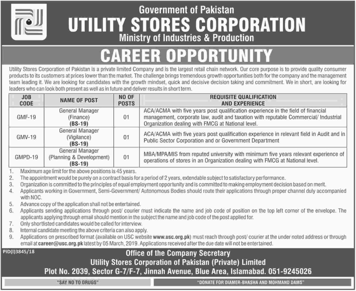 Utility Stores Corporation Jobs 2019 Ministry of Industries & Production Latest
