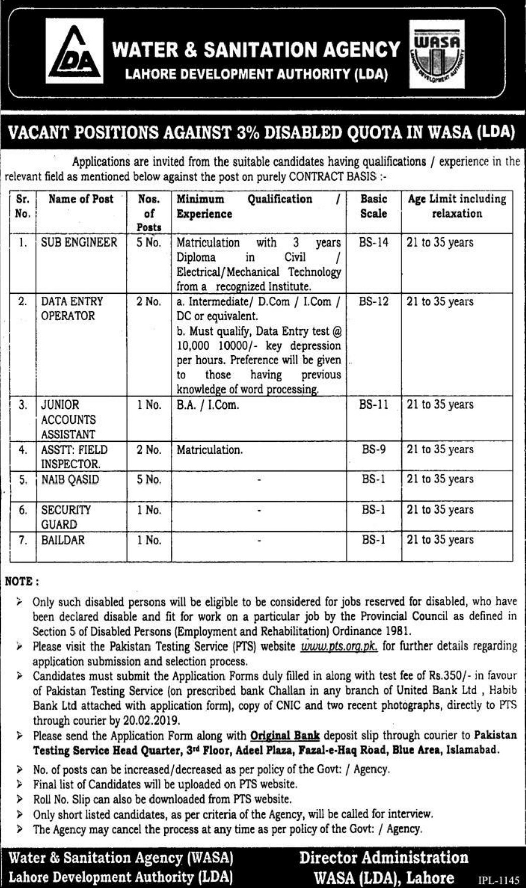 WASA LDA Jobs 2019 Water & Sanitation Agency Lahore Development Authority