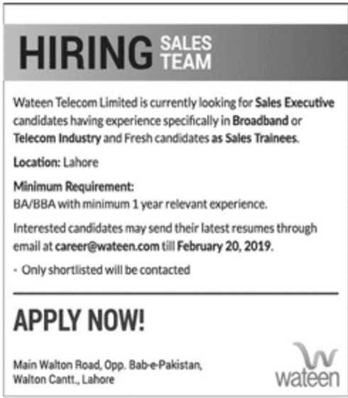 Wateen Telecom Ltd Jobs 2019 Latest