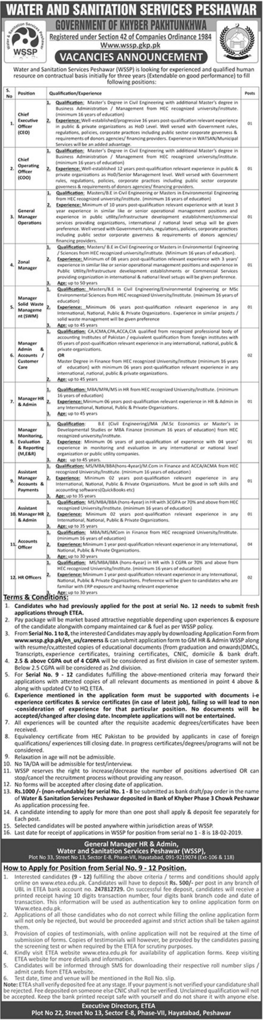 Water and Sanitation Services Peshawar Jobs 2019 WSSP KPK Latest