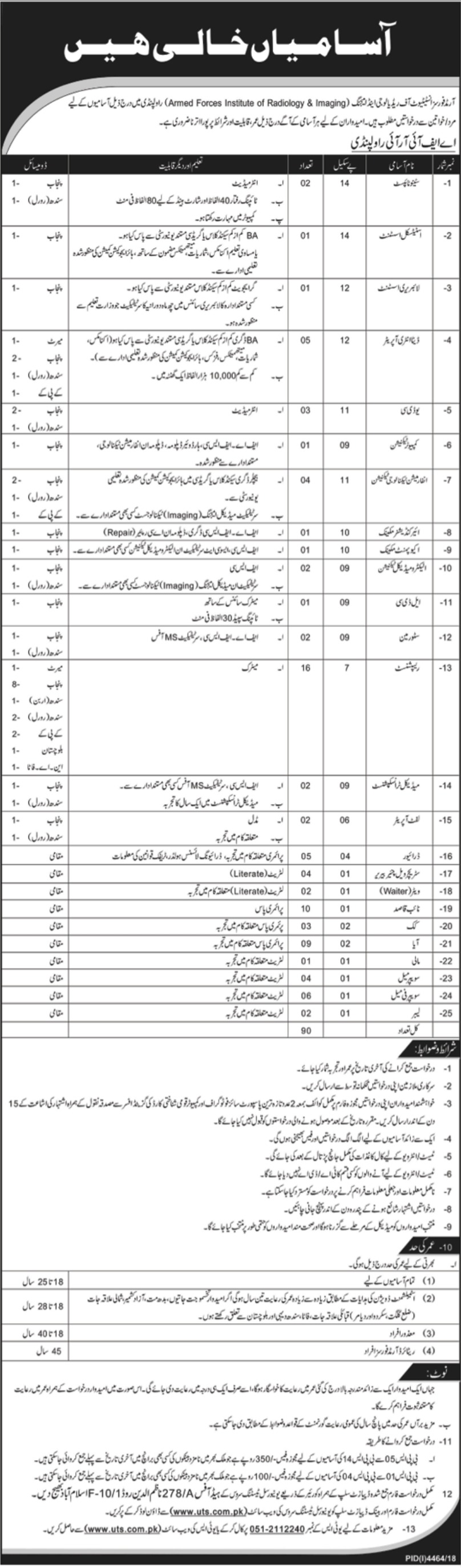 Armed Forces Institute of Radiology & Imaging AFIRI Rawalpindi Jobs 2019 Latest