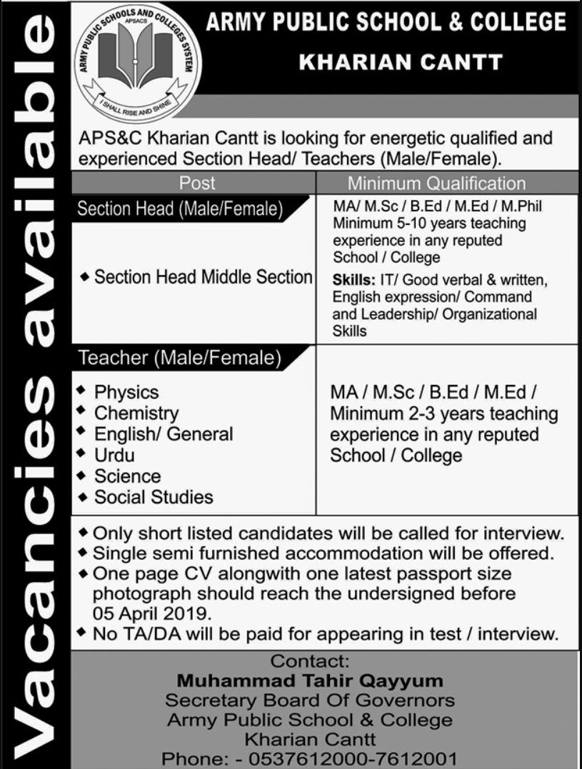 Army Public School & College Kharian Cantt Jobs 2019 APS&C Latest