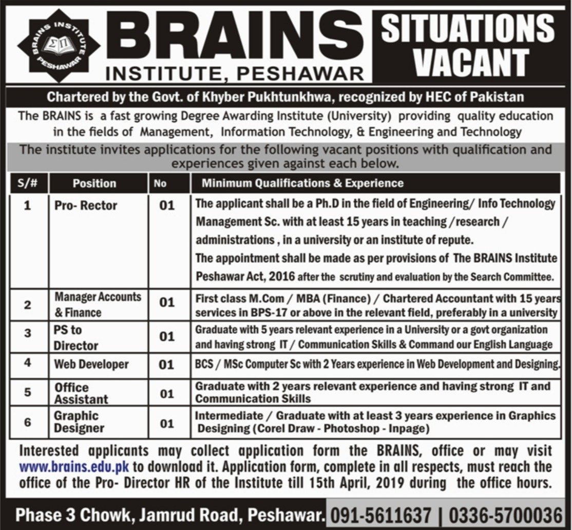 Brains Institute Peshawar Jobs 2019 KPK Latest