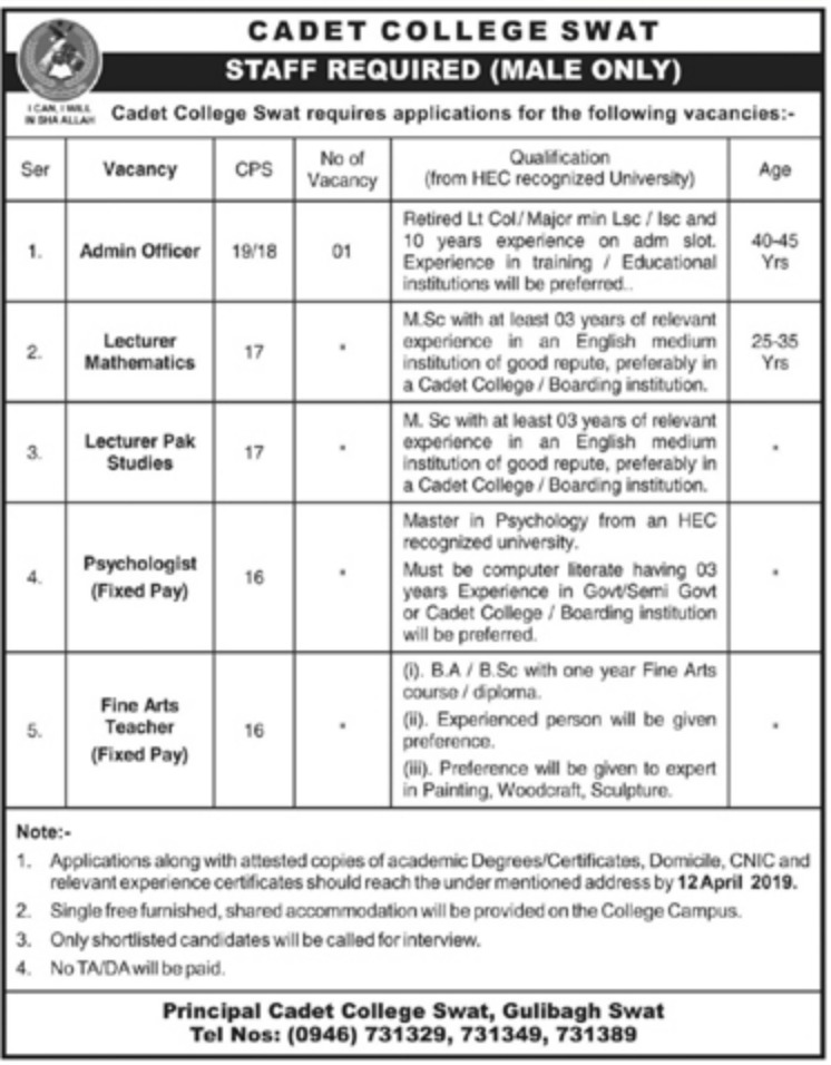 Cadet College Swat Jobs 2019 KPK Latest