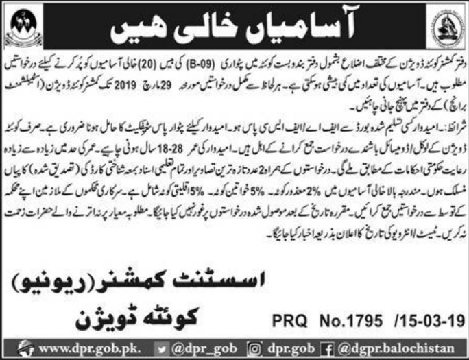 Commissioner Office Quetta Division Balochistan Jobs 2019 Latest