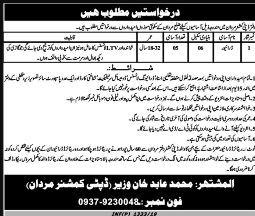 Deputy Commissioner Office Mardan Jobs 2019 KPK Latest
