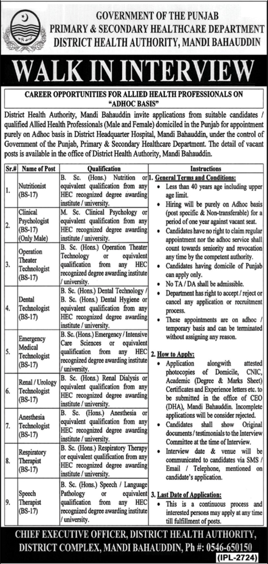 District Health Authority Mandi Bahauddin Jobs 2019 Government of Punjab Latest