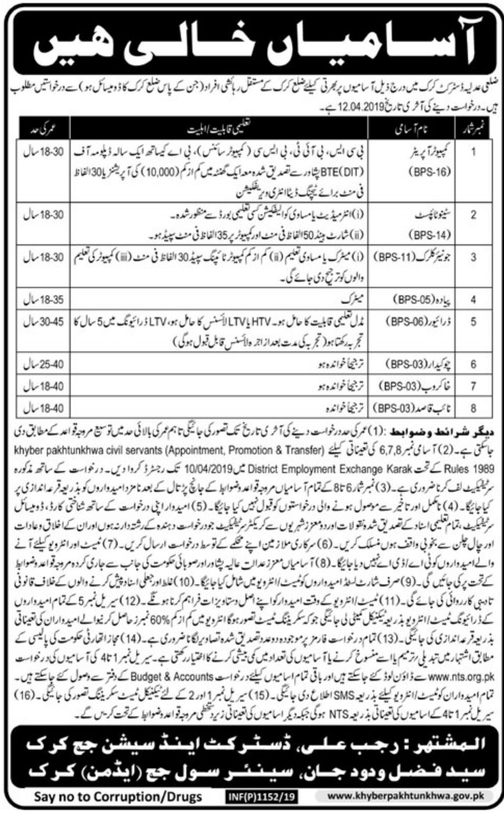 District & Session Court Kirk Jobs 2019 KPK