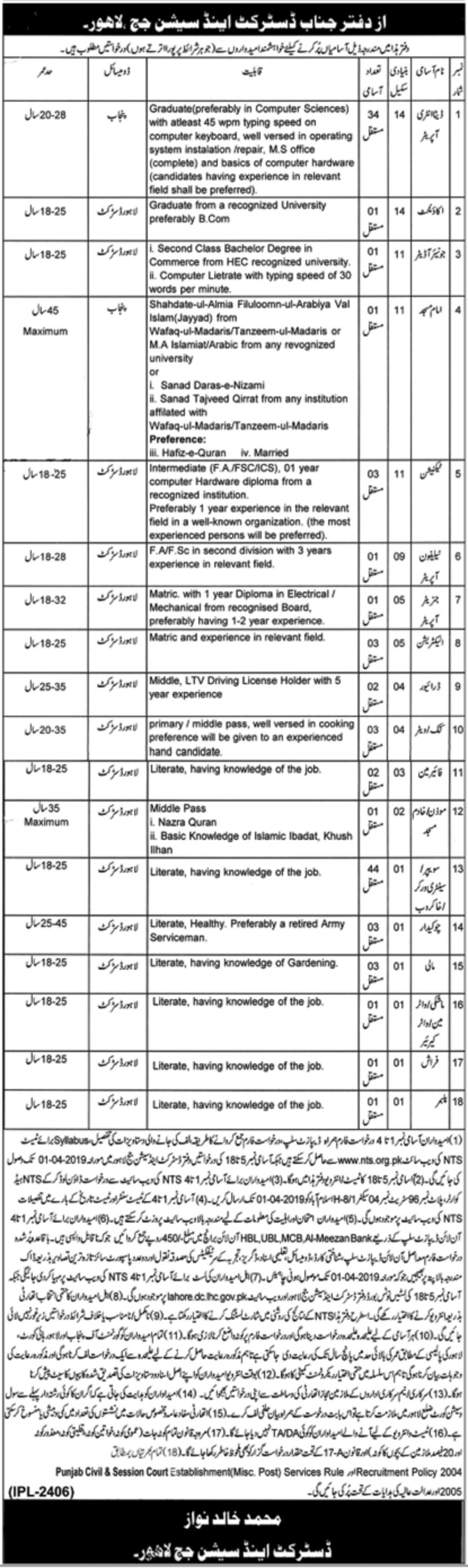 District & Session Court Lahore Jobs 2019 NTS Latest