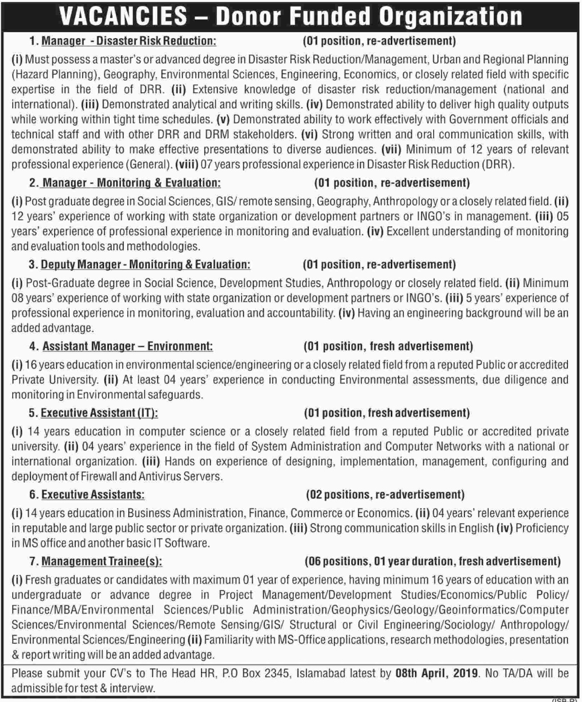 Donor Funded Organization Jobs 2019 P.O.Box 2345 Islamabad Latest