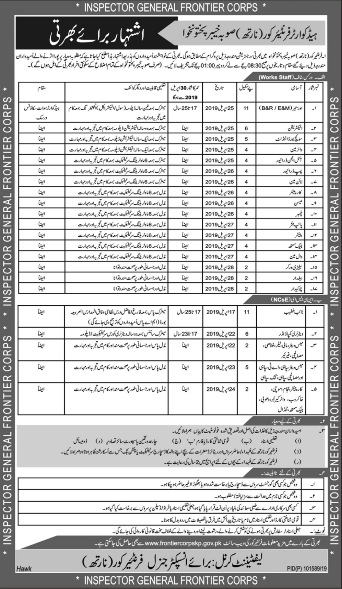Frontier Corps FC KPK Jobs 2019 North Khyber Pakhtunkhwa