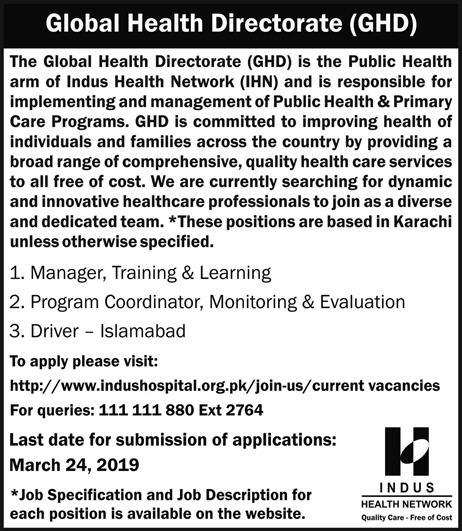 Global Health Directorate Jobs 2019 Indus Health Network Latest