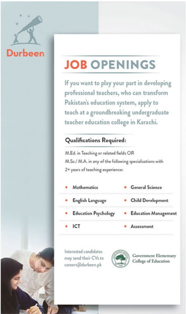 Government Elementary College of Education Jobs 2019 Durbeen Latest
