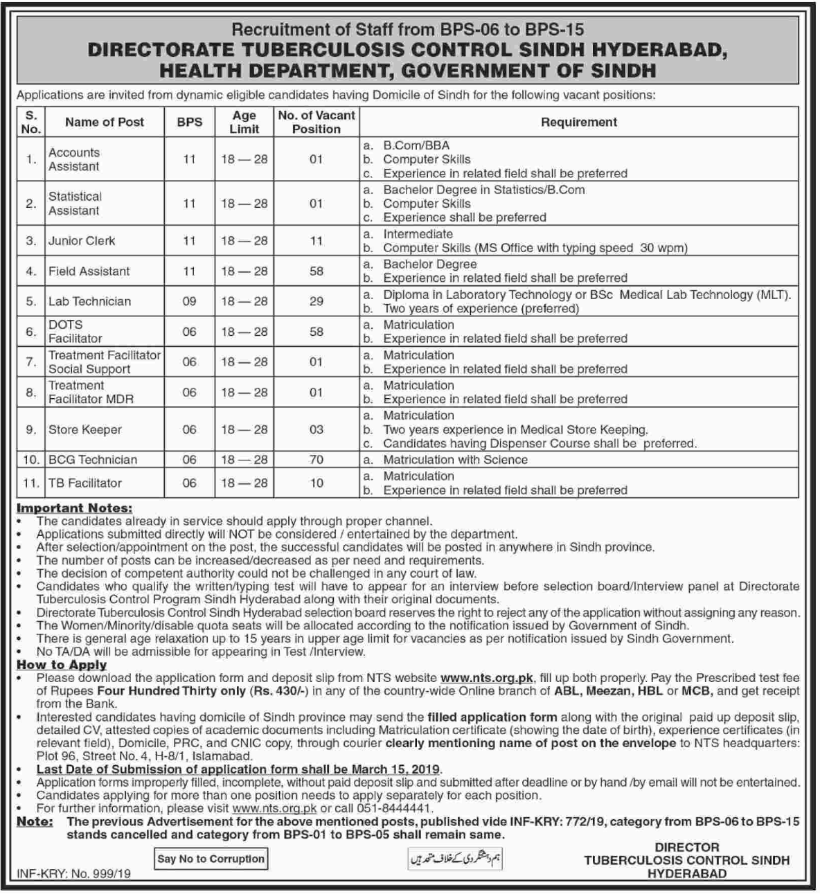 Health Department Sindh Jobs 2019 NTS Latest