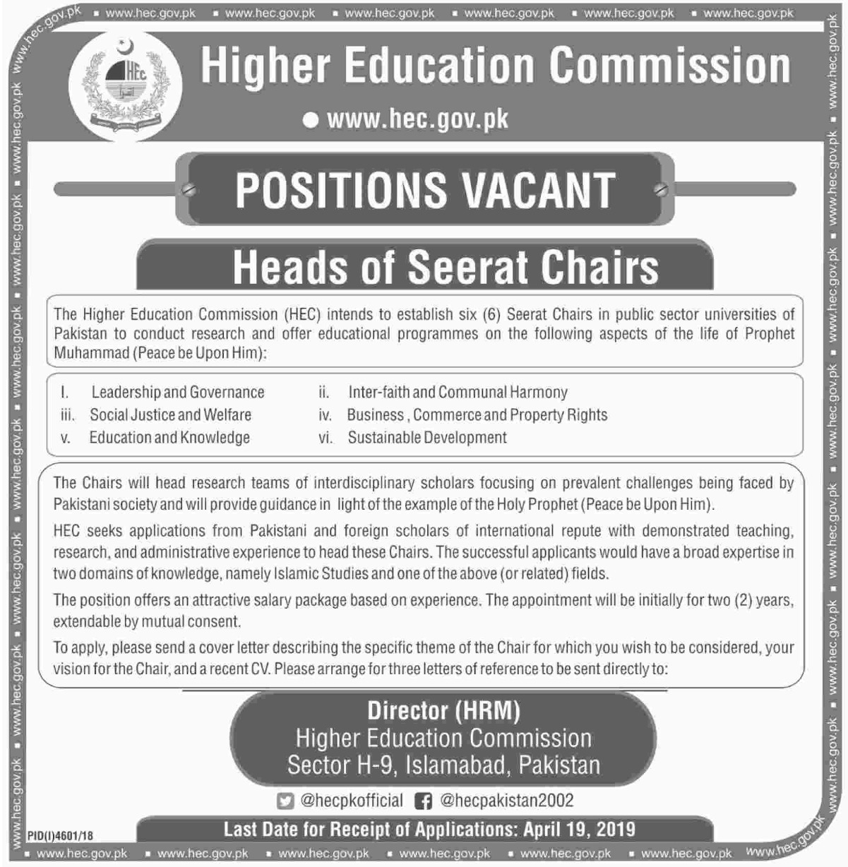 Higher Education Commission HEC Jobs 2019 Latest