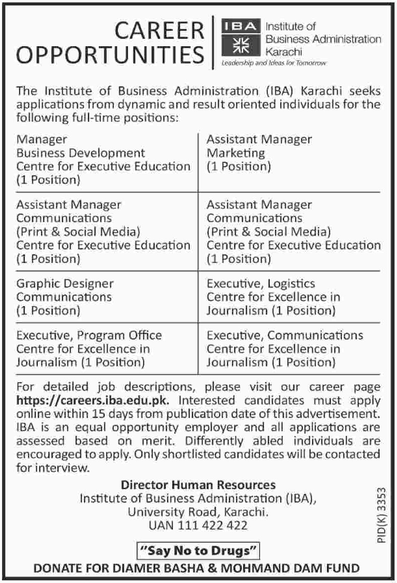 Institute of Business Administration Karachi Jobs 2019 IBA Sindh Latest