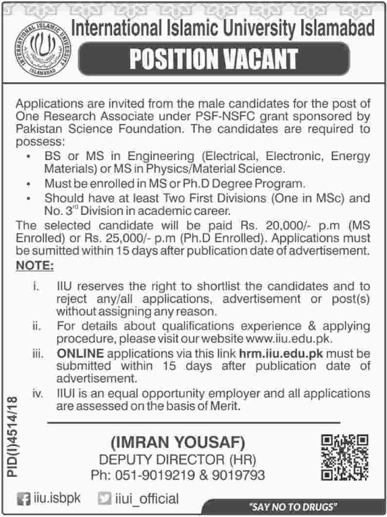 International Islamic University Islamabad Jobs 2019 Latest