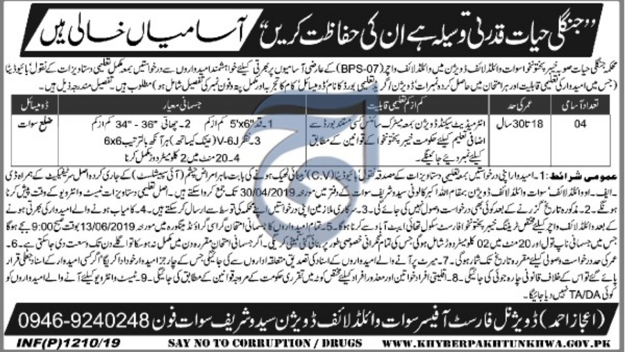 KPK Wildlife Department Jobs 2019 Swat Latest