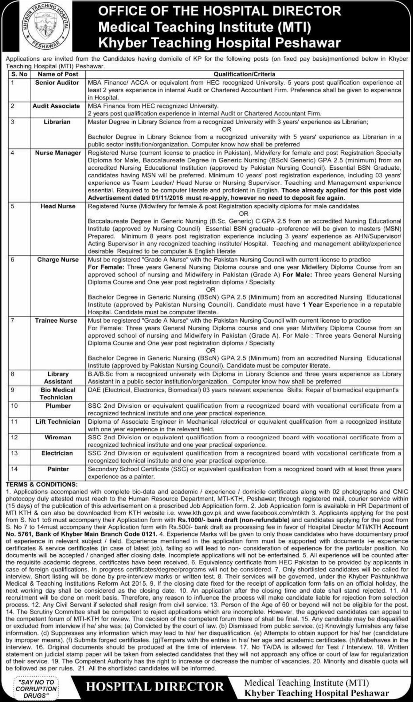 Khyber Teaching Hospital Peshawar Jobs 2019 KPK Latest