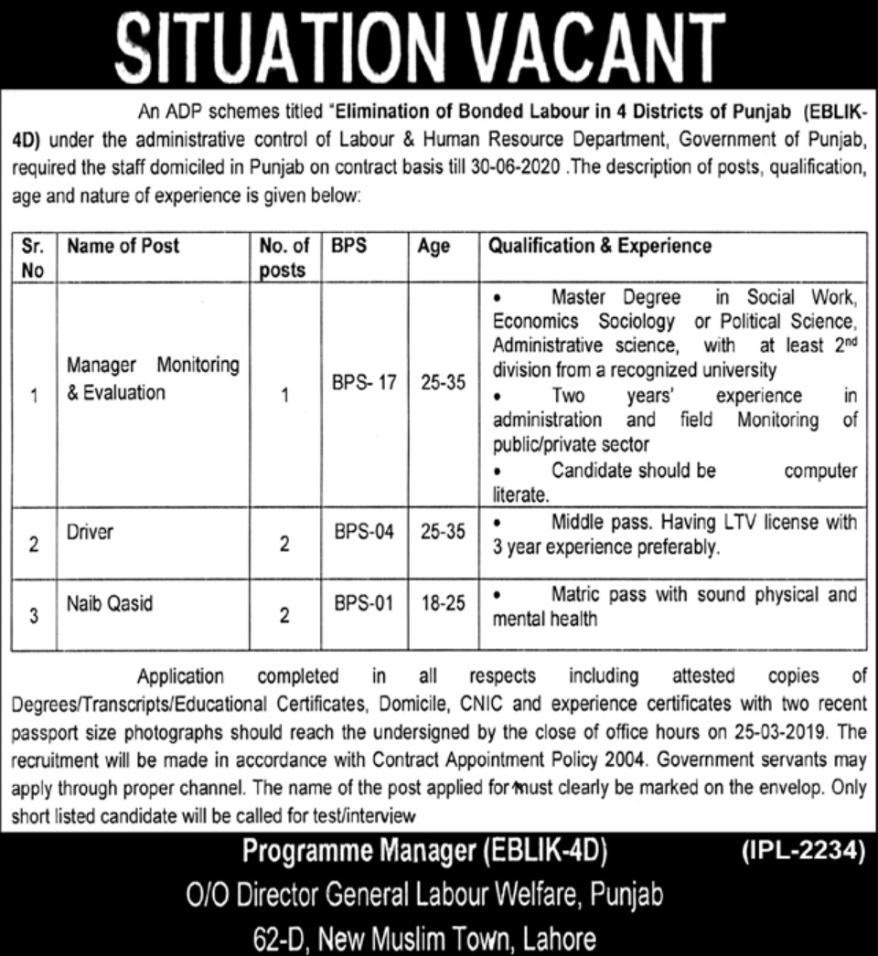 Labour & Human Resource Department Punjab Jobs 2019 Latest