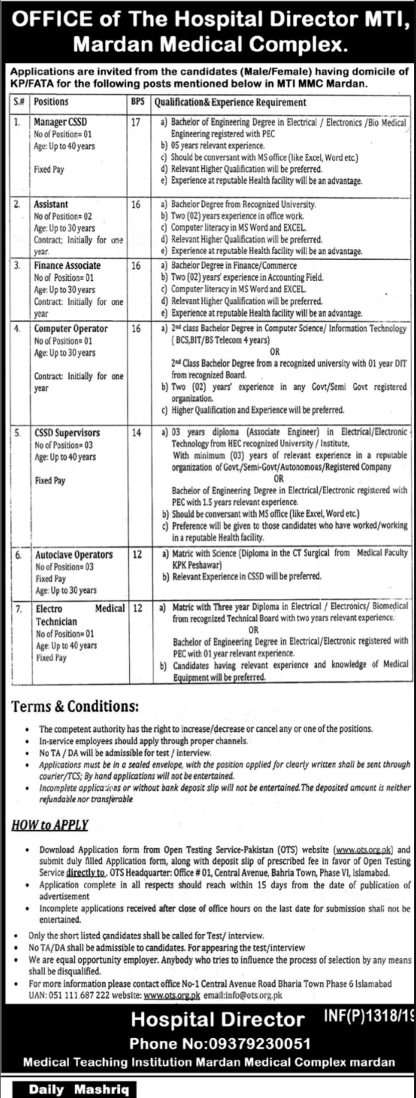 MTI Mardan Medical Complex Jobs 2019 MMC KPK Apply through ots.org.pk