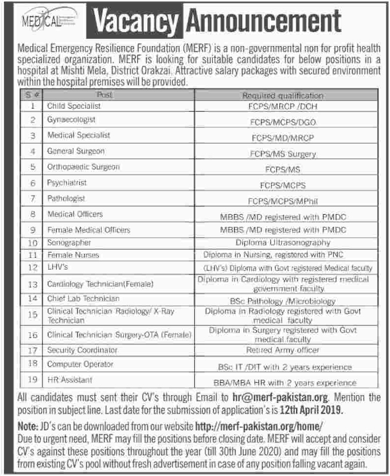 Medical Emergency Resilience Foundation MERF Jobs 2019 Orakzai KPK Latest