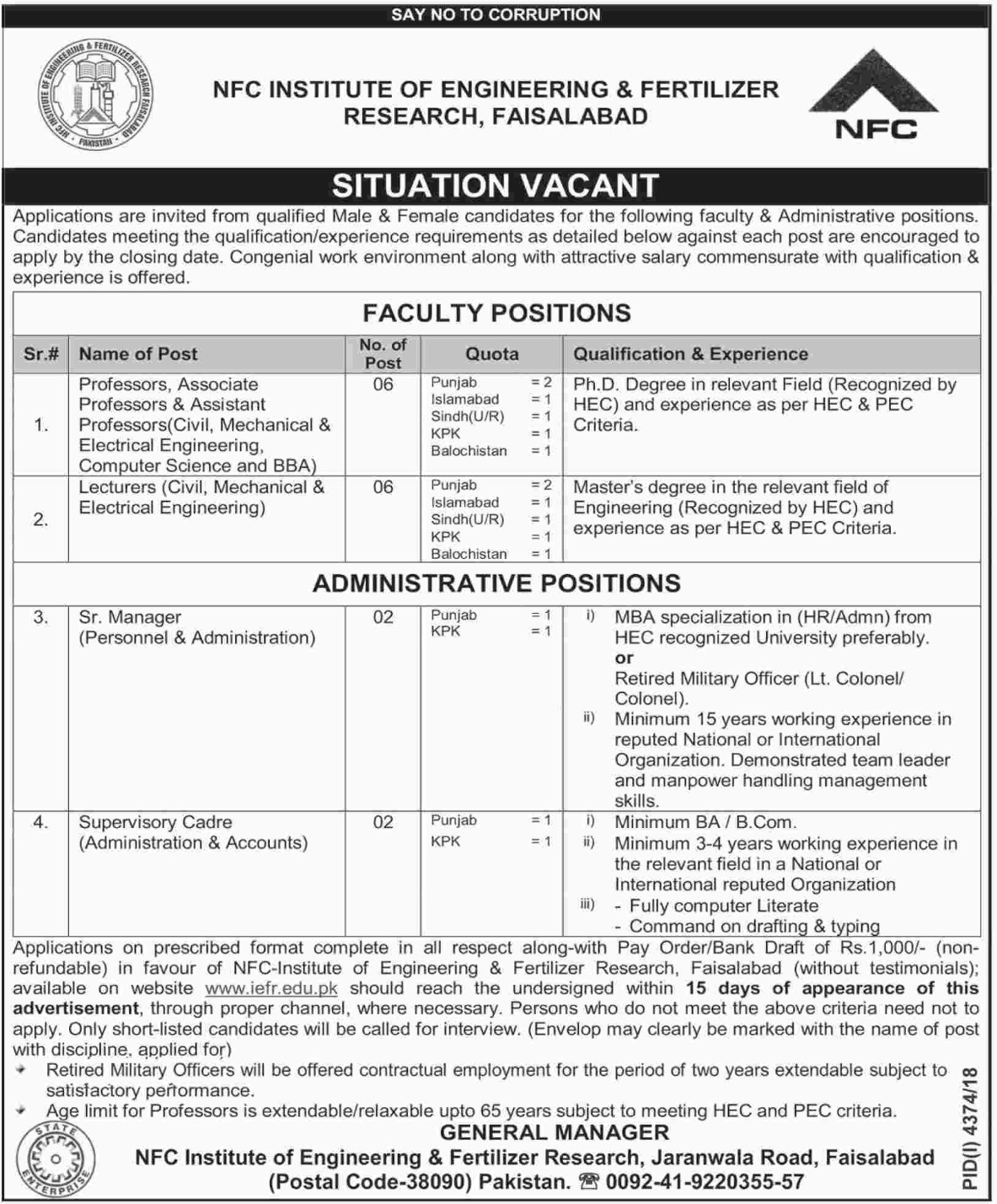 NFC Institute of Engineering & Fertilizer Research Faisalabad Jobs 2019 Latest
