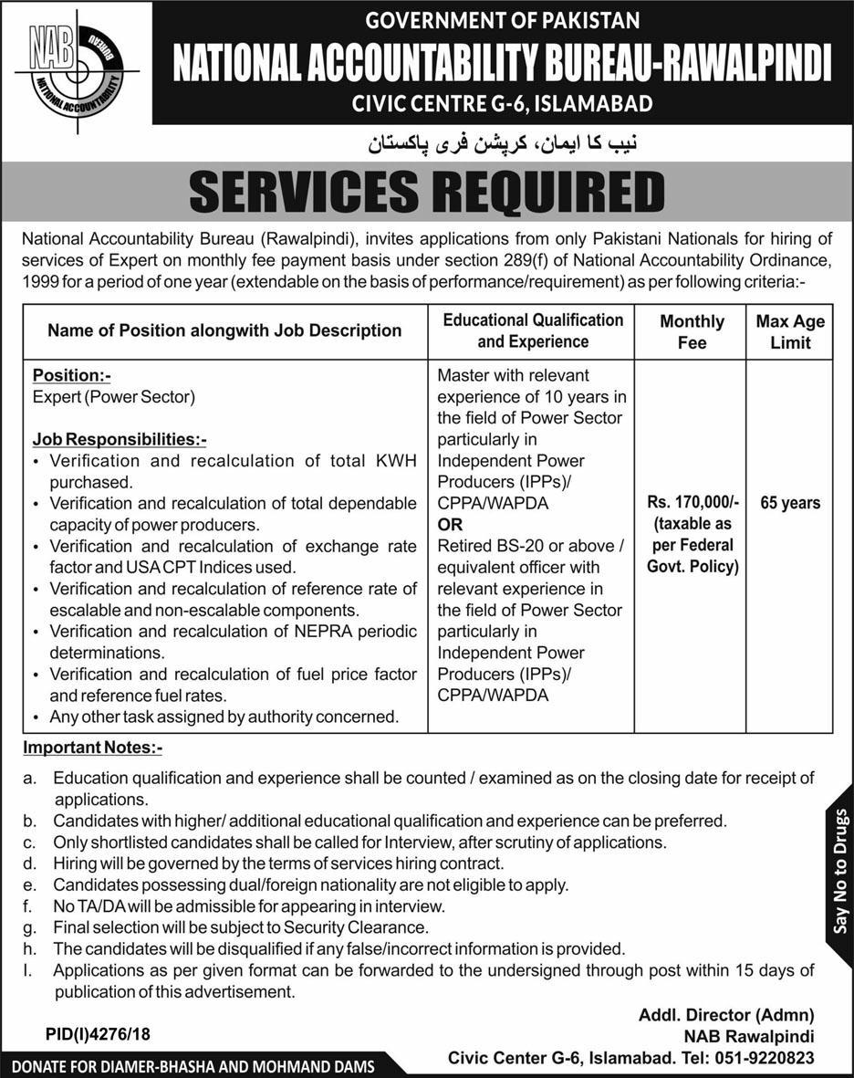 National Accountability Bureau NAB Rawalpindi Jobs 2019 Latest