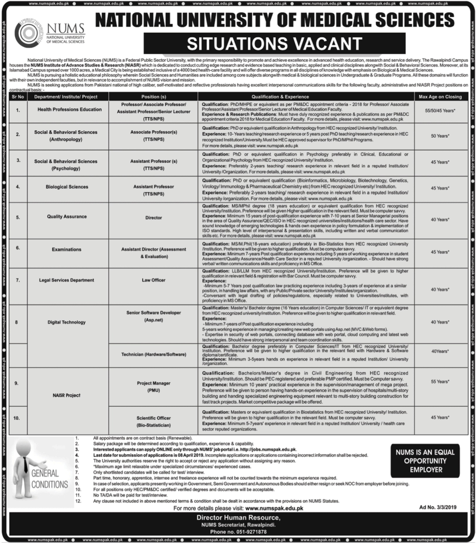 National University of Medical Sciences NUMS Jobs 2019 Islamabad Latest