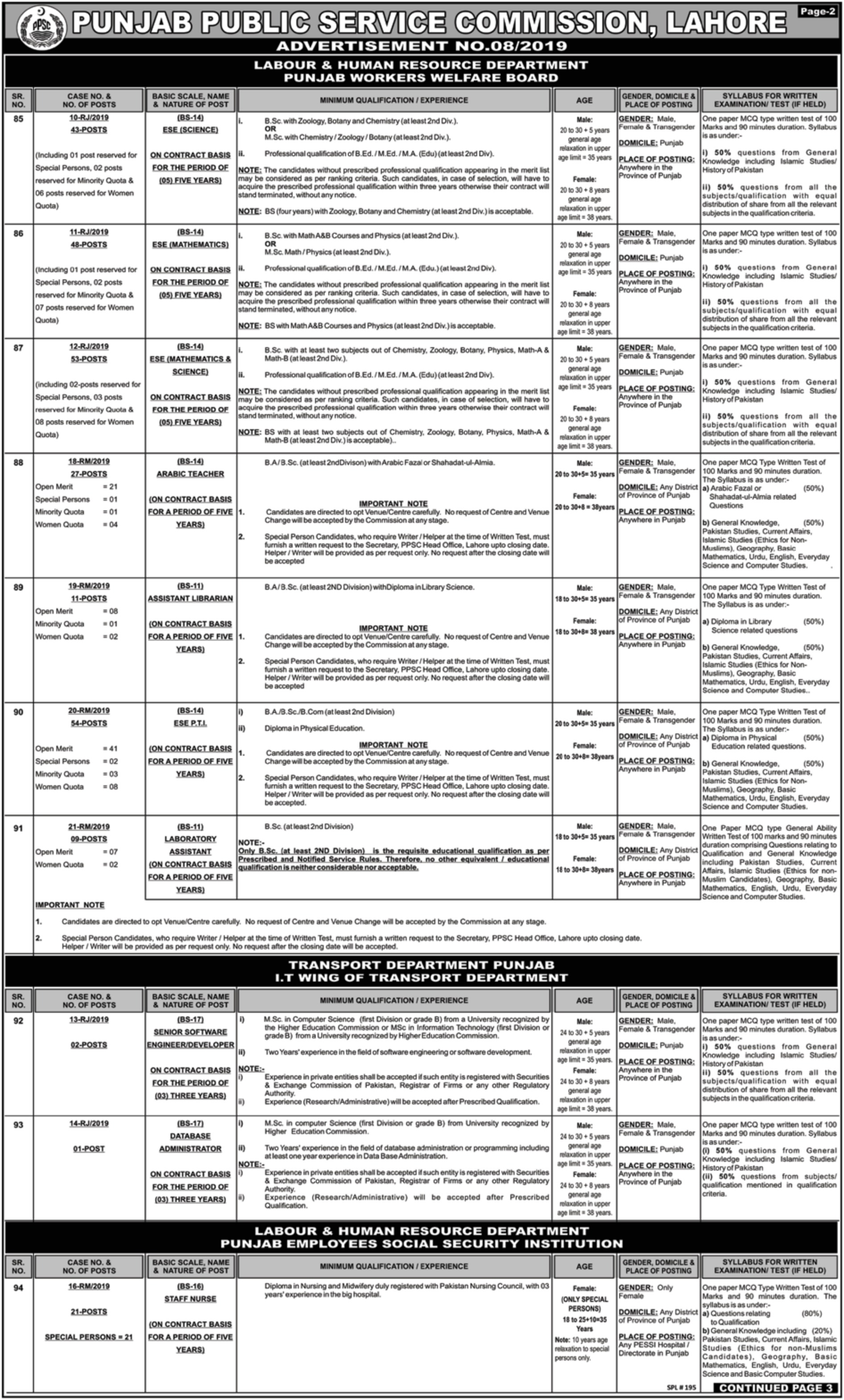 ppsc jobs 2019 advertisement 08-2019 punjab public service commission latest