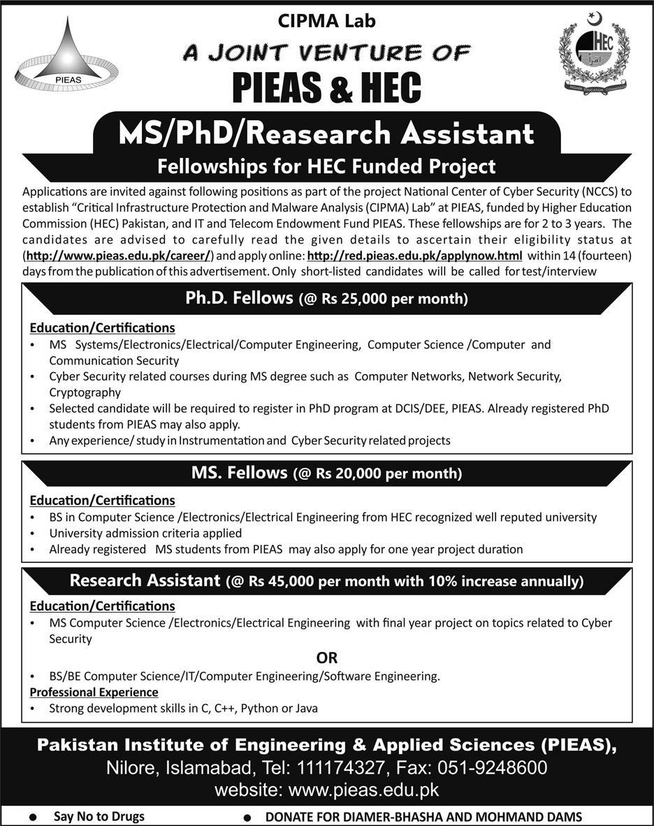 Pakistan Institute of Engineering & Applied Sciences PIEAS Jobs 2019 Latest