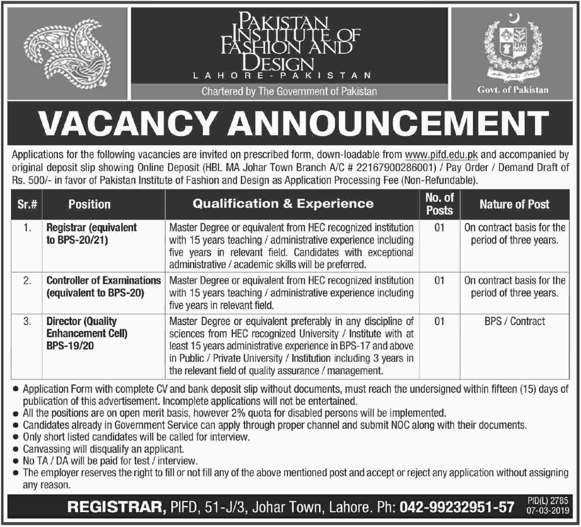 Pakistan Institute Of Fashion And Design Jobs 2019 Pifd Lahore Jobsalert