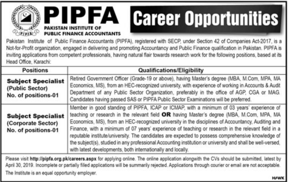 Pakistan Institute of Public Finance Accountants PIPFA Jobs 2019 Latest