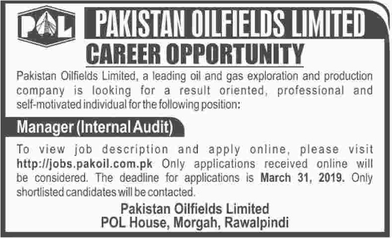 Pakistan Oilfields Ltd POL Jobs 2019 Latest