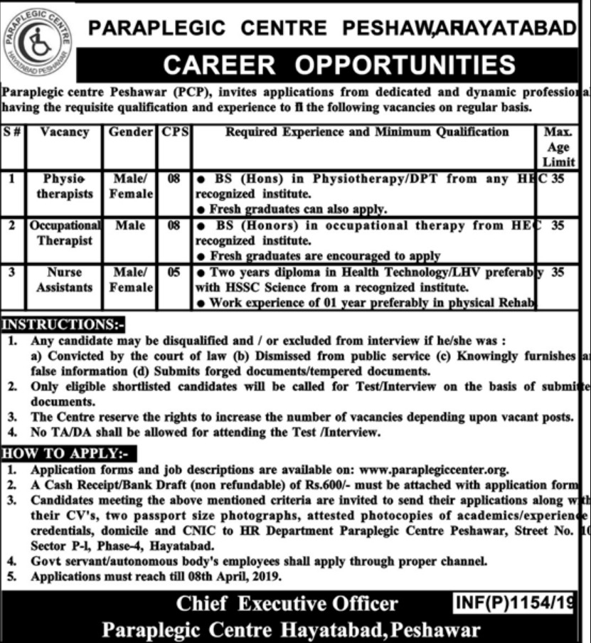 Paraplegic Centre Peshawar PCP Jobs 2019 KPK Latest