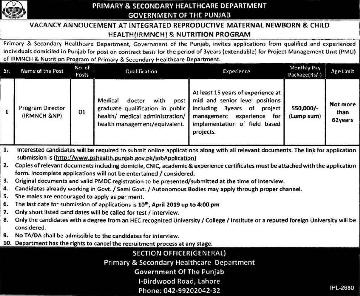 Primary & Secondary Healthcare Department Punjab Jobs 2019 Latest