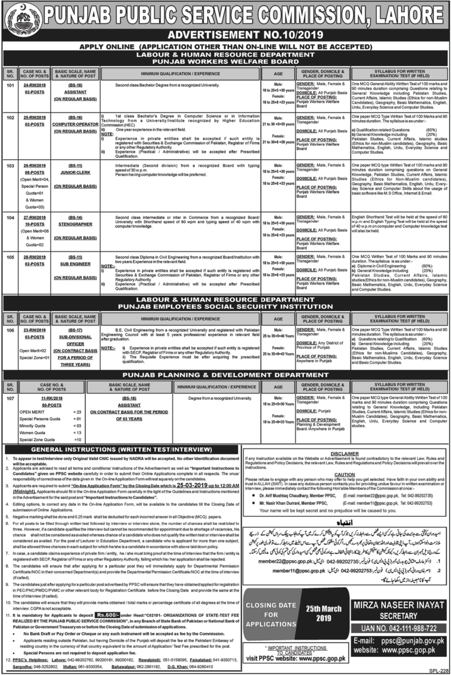 Punjab Public Service Commission PPSC Jobs 10-2019
