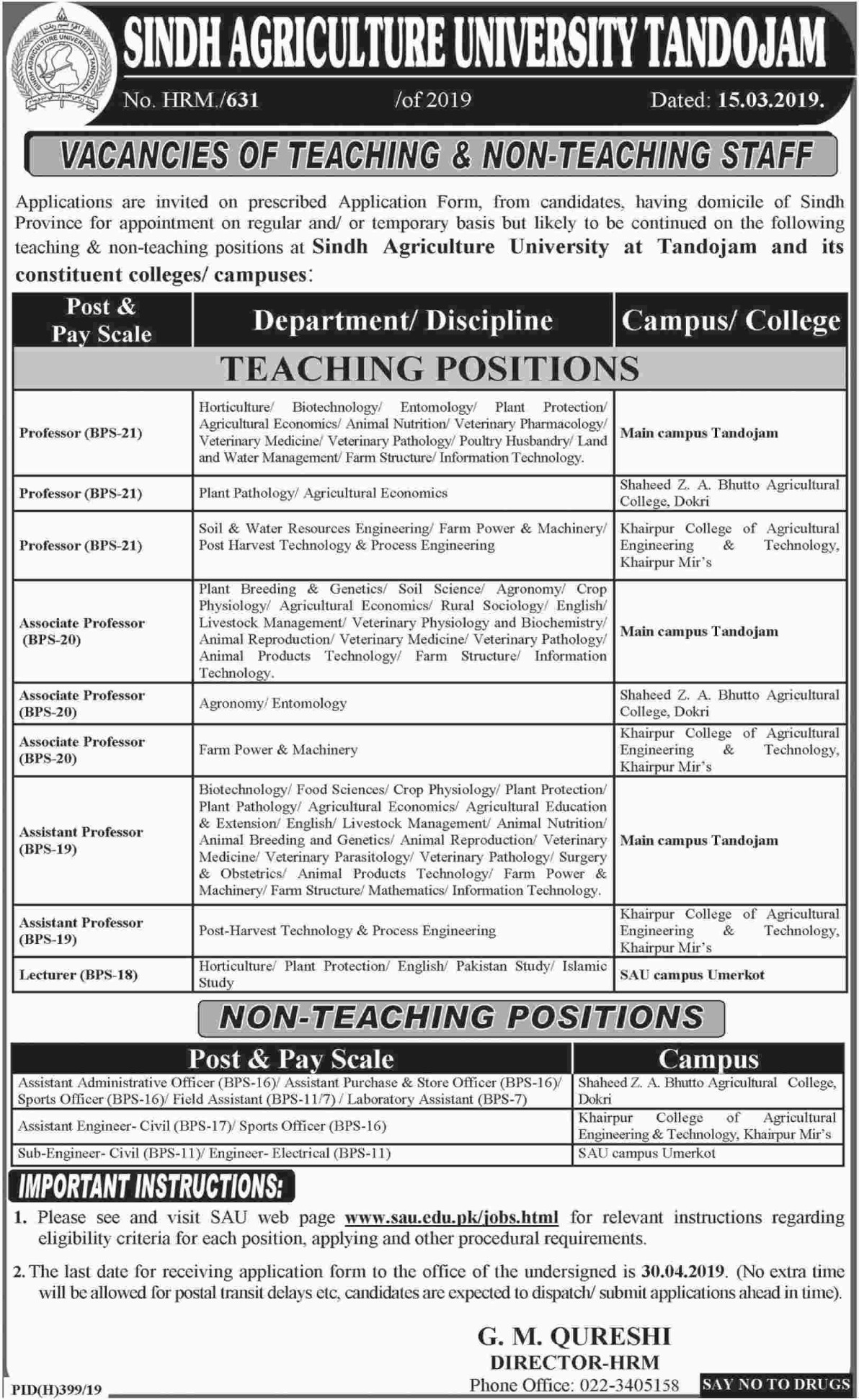 Sindh Agriculture University Tandojam Jobs 2019 Latest