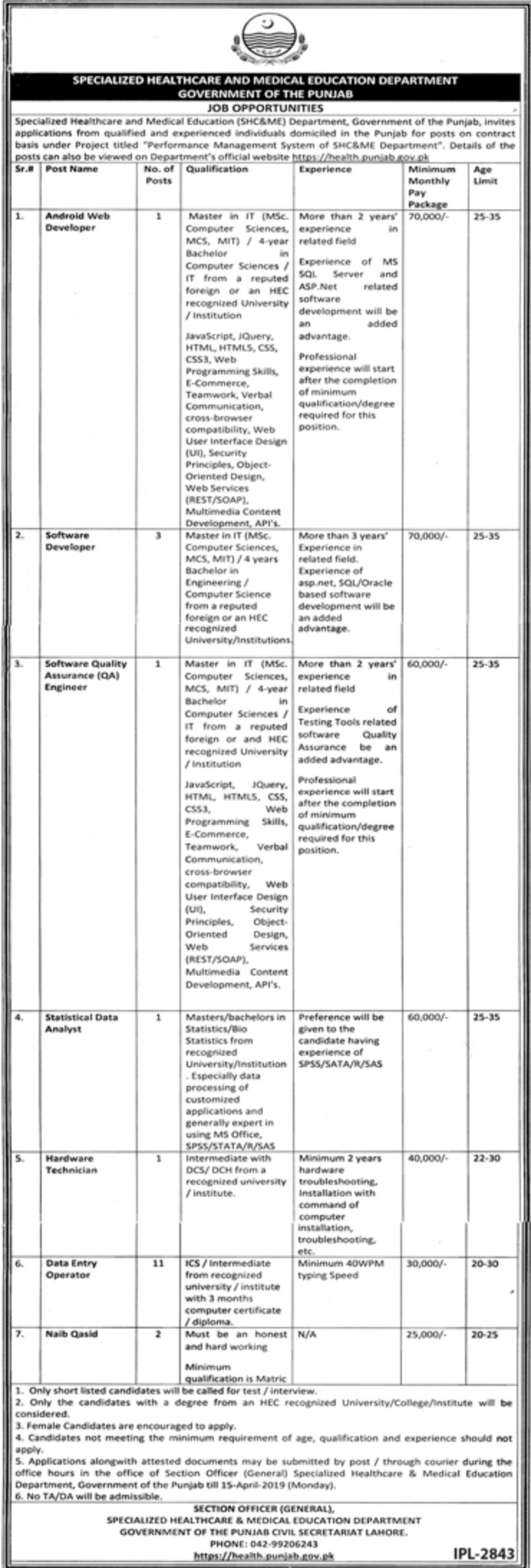 Specialized Healthcare and Medical Education Department Punjab Jobs 2019 LatestSpecialized Healthcare and Medical Education Department Punjab Jobs 2019 Latest